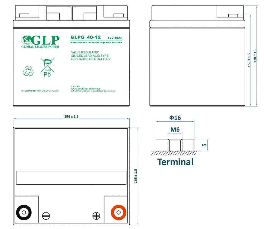 GLPG 40-12 GLP wymiary akumulatora baterii