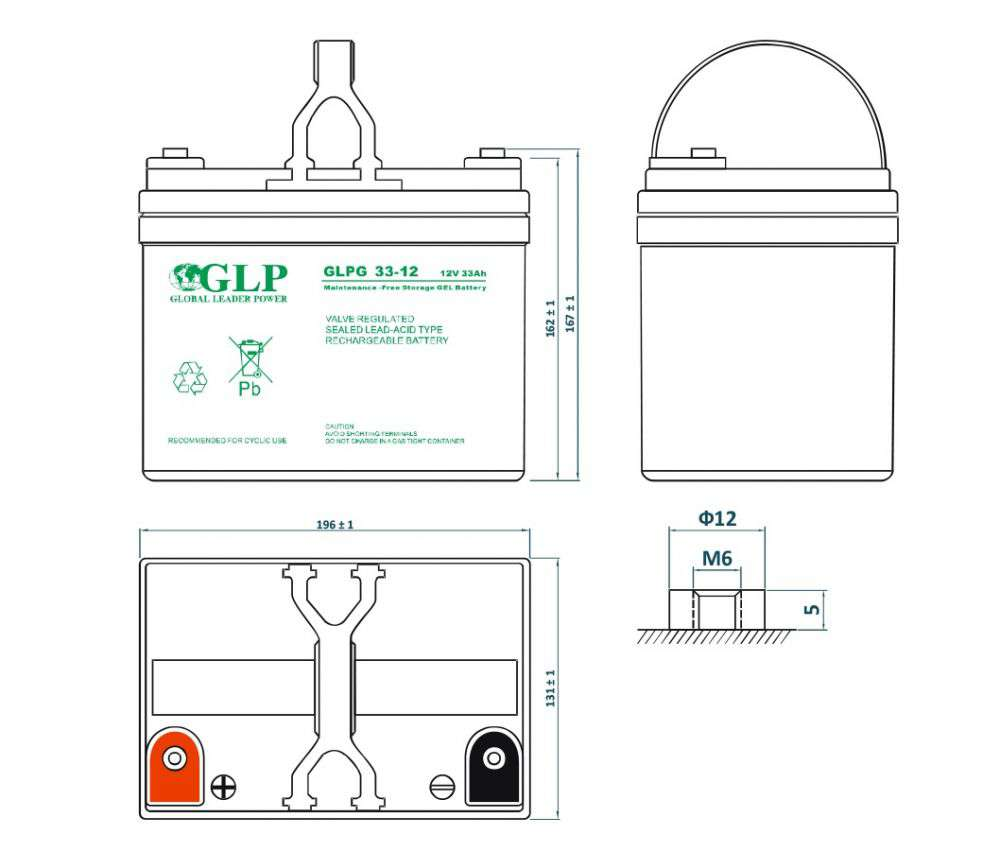 GLPG 33-12 GLP wymiary akumulatora baterii