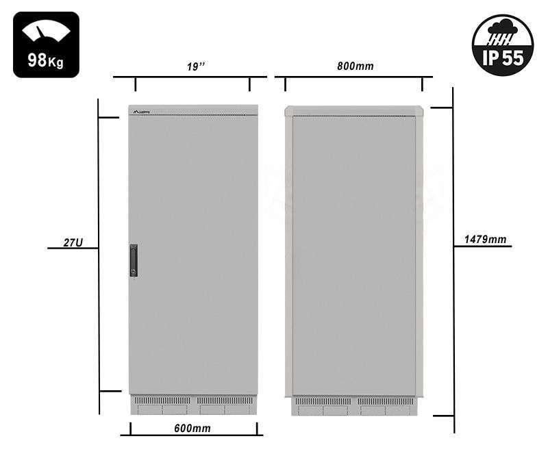FF55-6827-22S waga i rzeczywiste wymiary szaf serii marki Lanberg