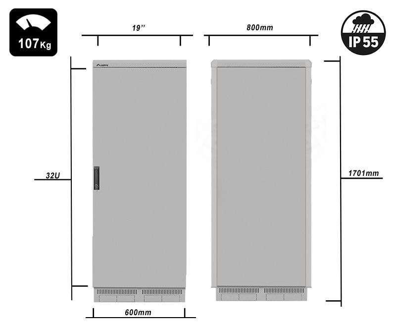 FF55-6832-22S waga i rzeczywiste wymiary szaf serii marki Lanberg