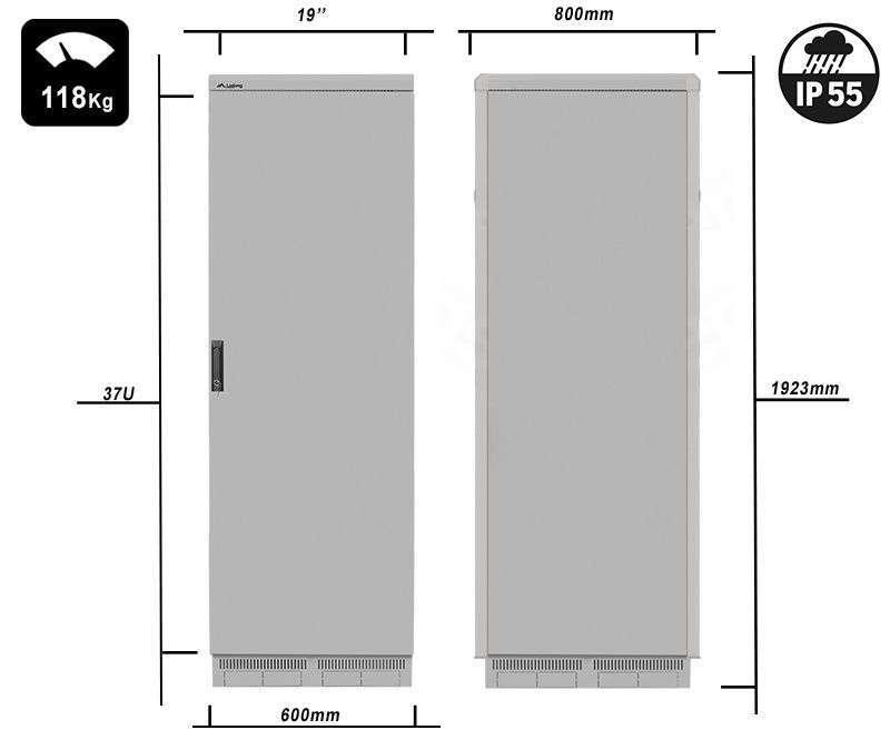 FF55-6837-22S waga i rzeczywiste wymiary szaf serii marki Lanberg