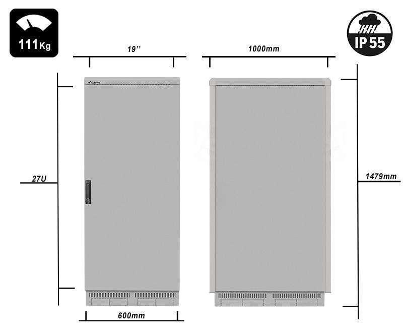 FF55-6027-22S waga i rzeczywiste wymiary szaf serii marki Lanberg