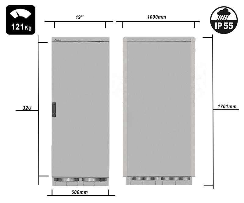 FF55-6032-22S waga i rzeczywiste wymiary szaf serii marki Lanberg