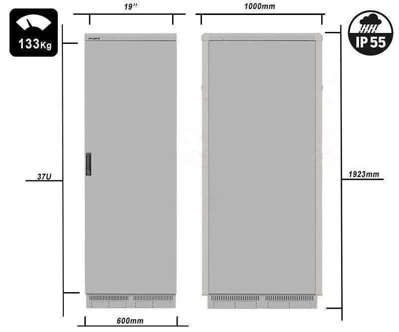 FF55-6037-22S waga i rzeczywiste wymiary szaf serii marki Lanberg