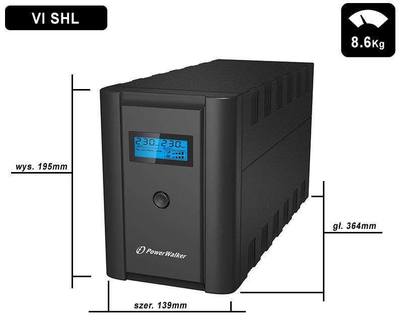 VI 1200 SHL IEC PowerWalker wymiary i waga