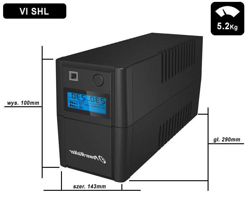 VI 850 SHL IEC PowerWalker wymiary i waga