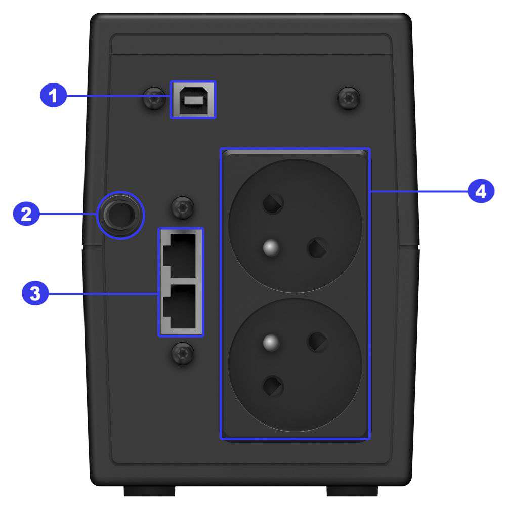 Opis złącz w zasilaczu awaryjnym UPS Power Walker serii VI GX