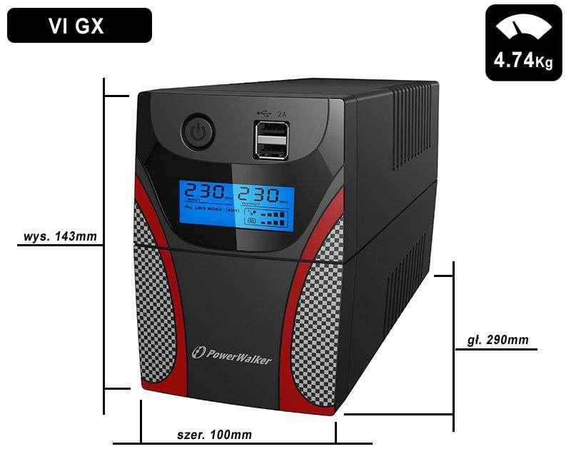 VI 650 GX FR PowerWalker wymiary i waga