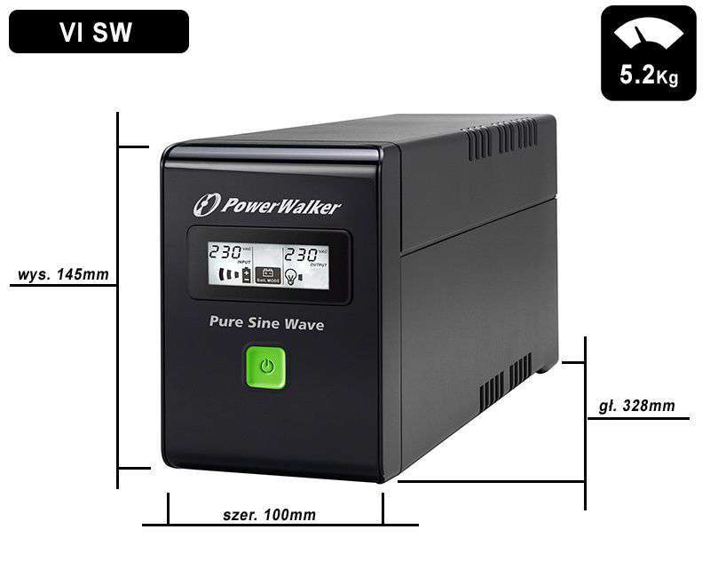 VI 600 SW PowerWalker wymiary i waga