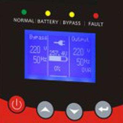 Zasilacz PowerWalker VFI TP 3/1 posiada wbudowany wyświetlaczLCD z wieloma funkcjami zarządzania.