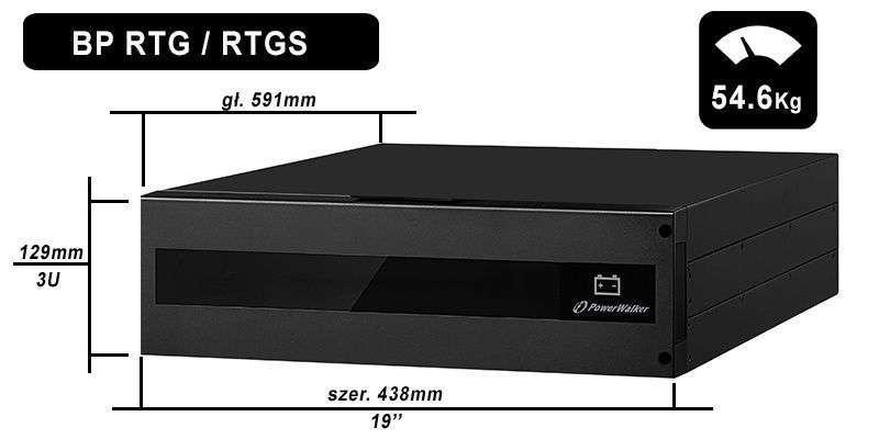 Battery Pack SA240R-20x9Ah PowerWalker BP 10134037 wymiary i waga