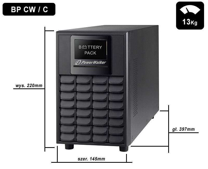 Battery Pack A24T-4x9Ah PowerWalker BP 10134049 wymiary i waga