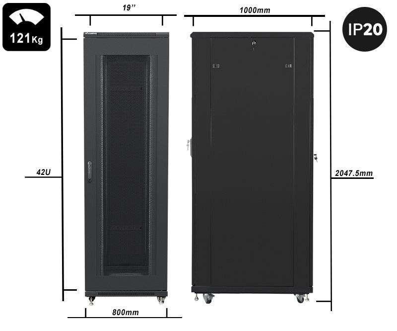 waga i wymiary szafy 42u rack 19 lanberg ff01-8042-23b