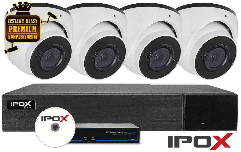 Zestaw do monitoringu IP ZMIP-IPO4KD40W/AI (4MPX) IPOX
