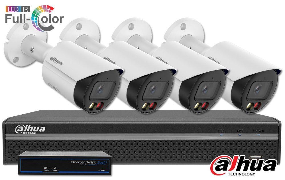 Zestaw monitoringu DAHUA IP Full Color 4MPX z dźwiękiem Audio Bullet