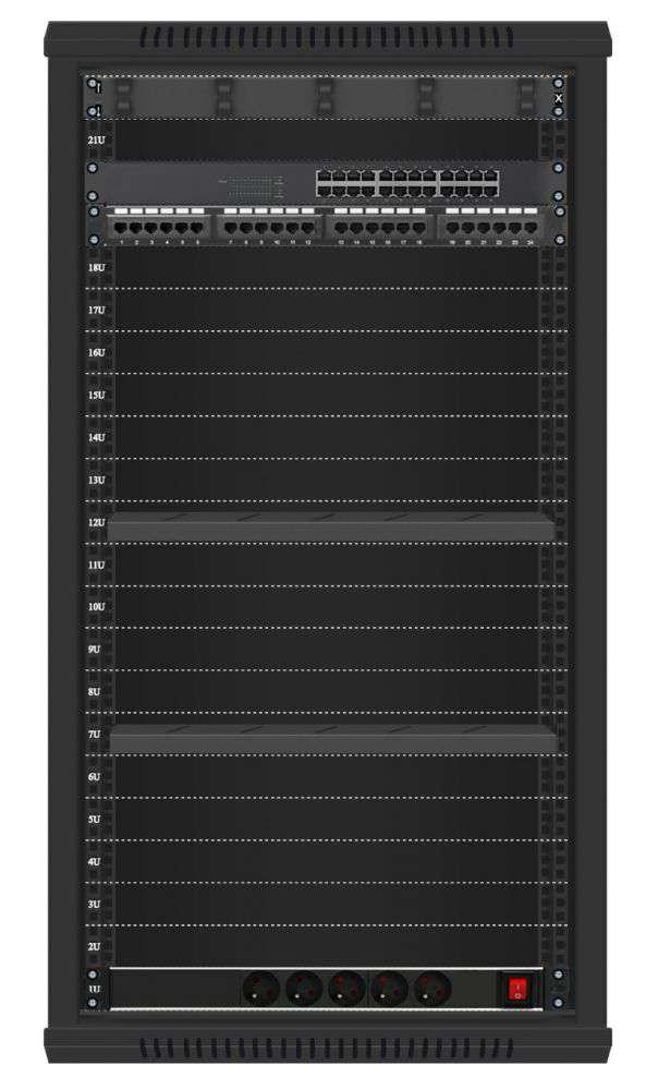 24 portowy MEGA zestaw sieciowy 22U szafa RACK 19 ZMS22-645-24B