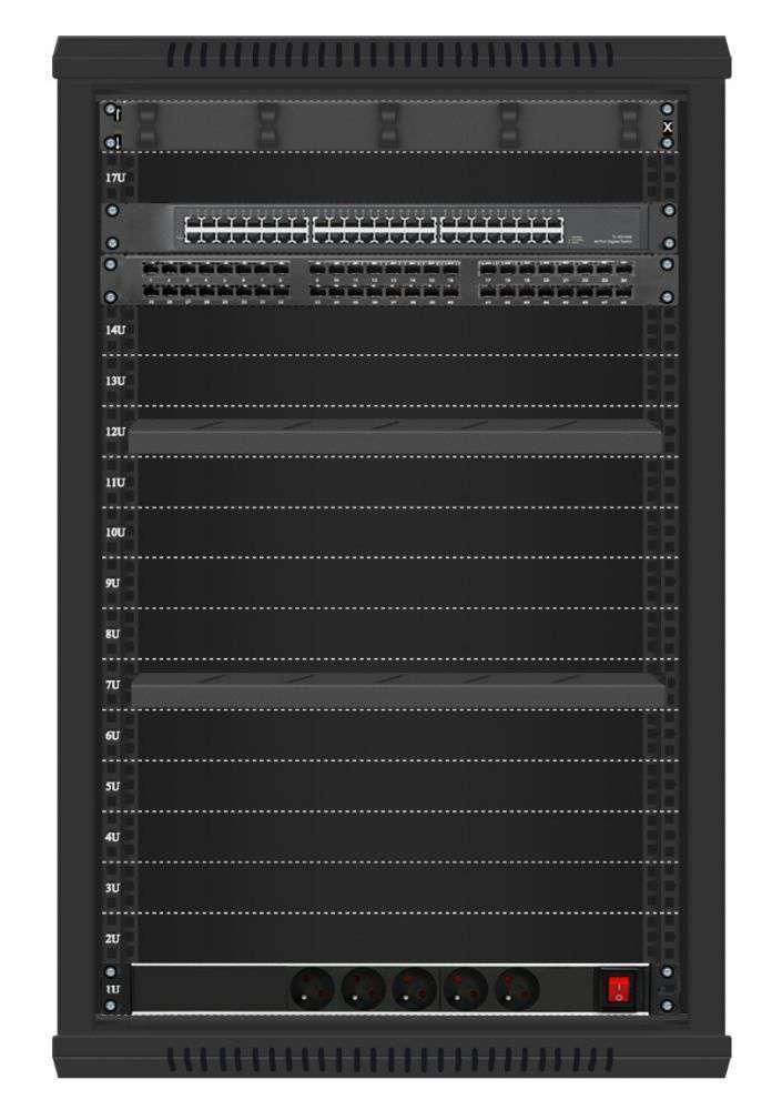 48 portowy MEGA zestaw sieciowy 18U szafa RACK 19 ZMS18-645-48B