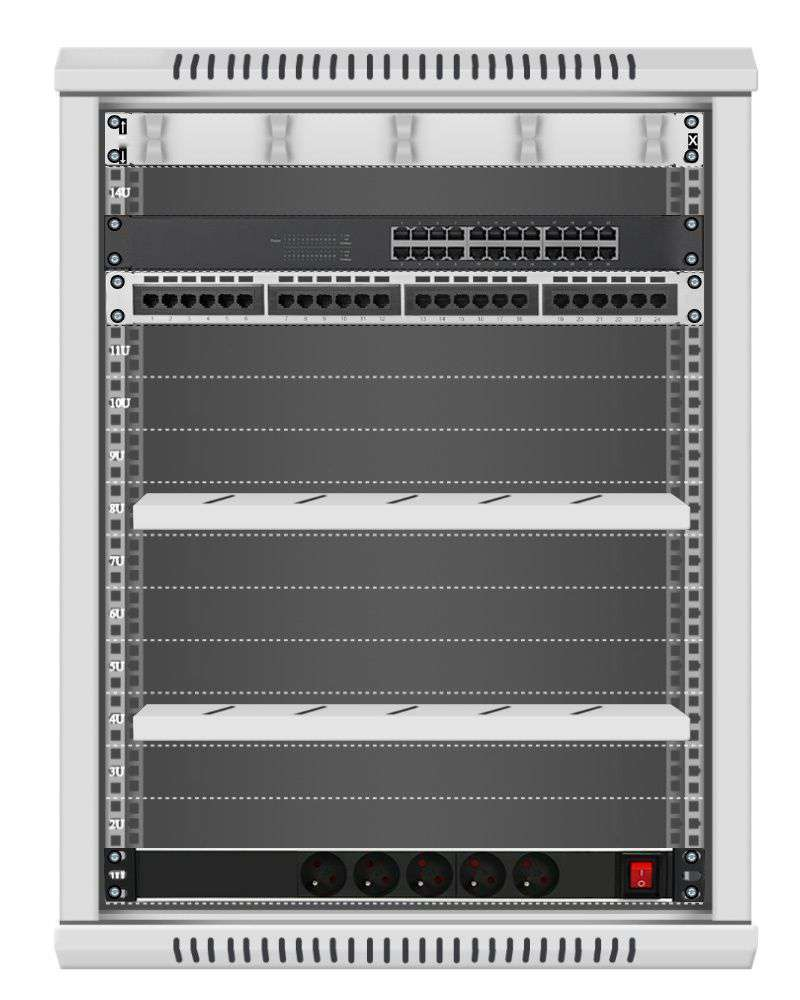 24 portowy MEGA zestaw sieciowy 15U szafa RACK 19 ZMS15-645-24S