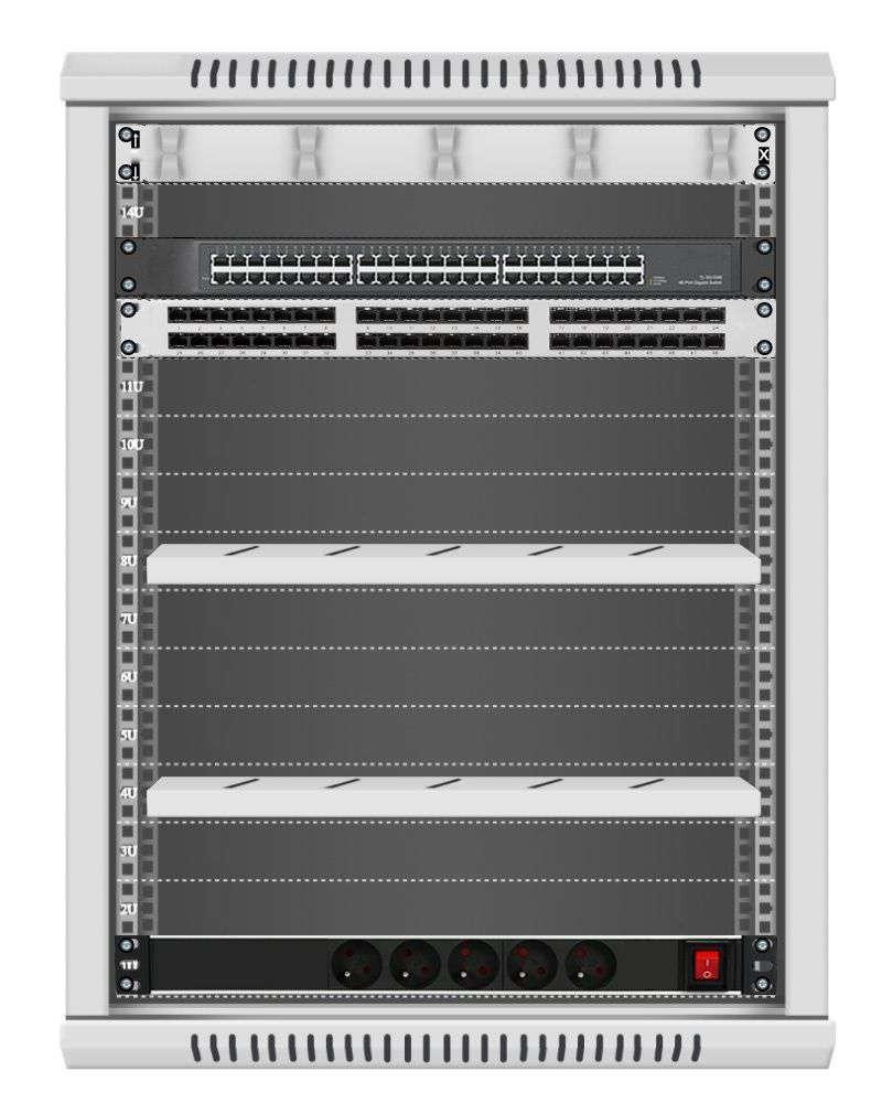 48 portowy GIGA zestaw sieciowy 15U szafa RACK 19 ZGS15-645-48S