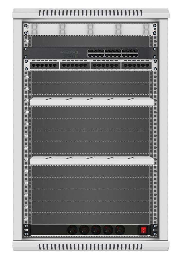 24 portowy MEGA zestaw sieciowy 18U szafa RACK 19 ZMS18-645-24S