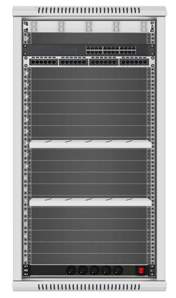 24 portowy MEGA zestaw sieciowy 22U szafa RACK 19 ZMS22-645-24S