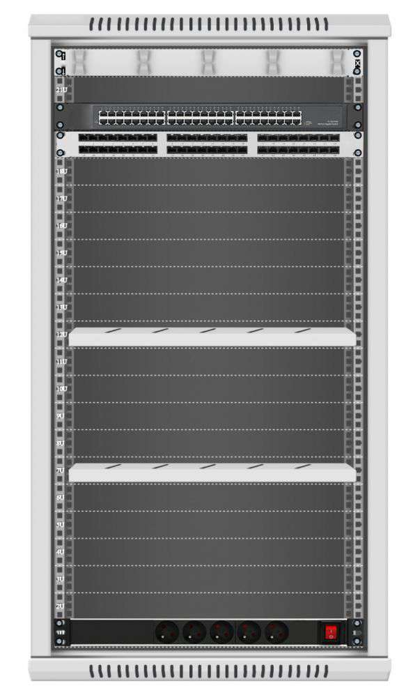 48 portowy GIGA zestaw sieciowy 22U szafa RACK 19 ZGS22-645-48S