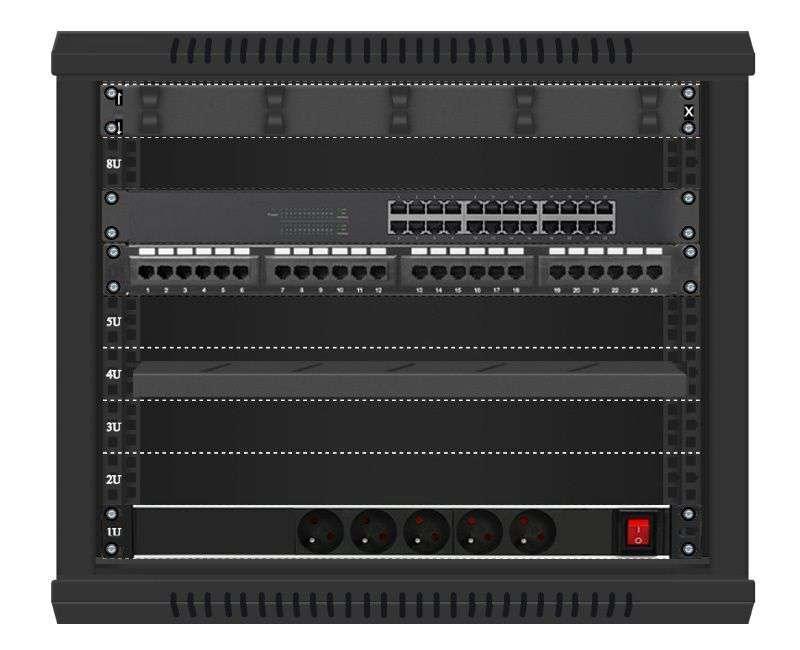 24 portowy MEGA zestaw sieciowy 9U szafa RACK 19 ZMS09-66-24B