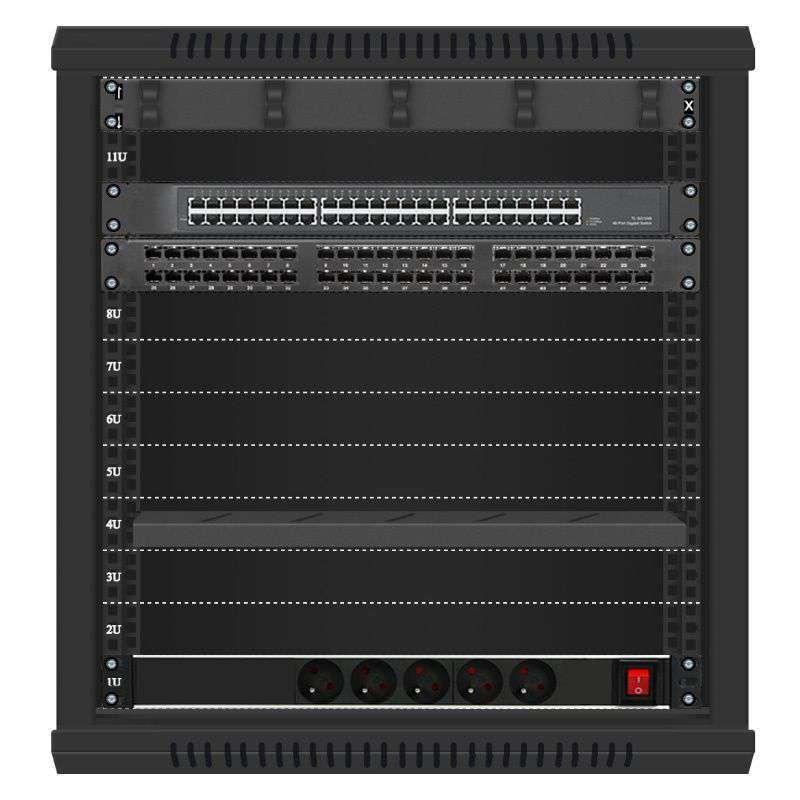 48 portowy GIGA zestaw sieciowy 12U szafa RACK 19 ZGS12-66-48B