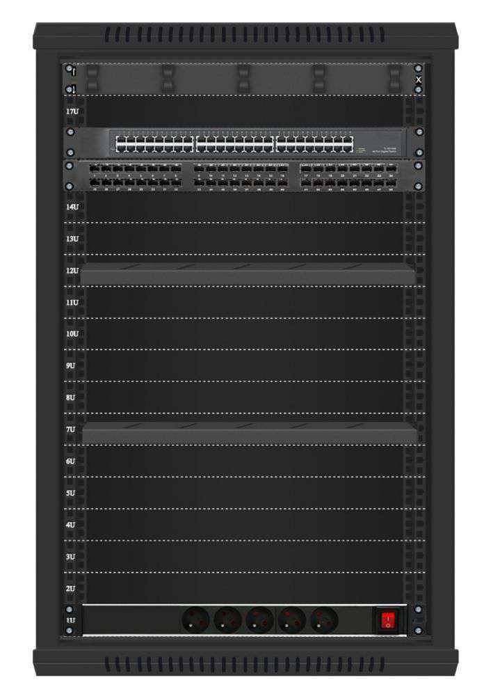 48 portowy GIGA zestaw sieciowy 18U szafa RACK 19 ZGS18-66-48B
