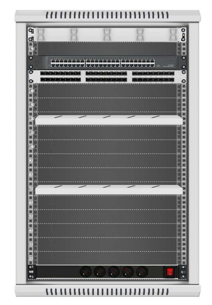 48 portowy GIGA zestaw sieciowy 18U szafa RACK 19 ZGS18-66-48S