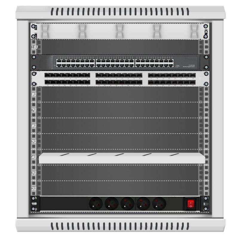 48 portowy GIGA zestaw sieciowy 12U szafa RACK 19 ZGS12-66-48S