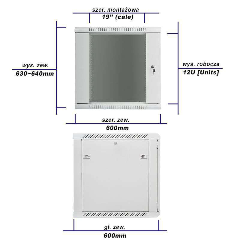 rzeczywiste wymiary szafy zestawu rack 19