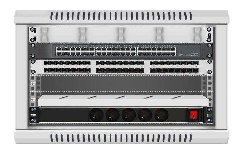 48 portowy GIGA zestaw sieciowy 6U szafa RACK 19 ZGS06-66-48S