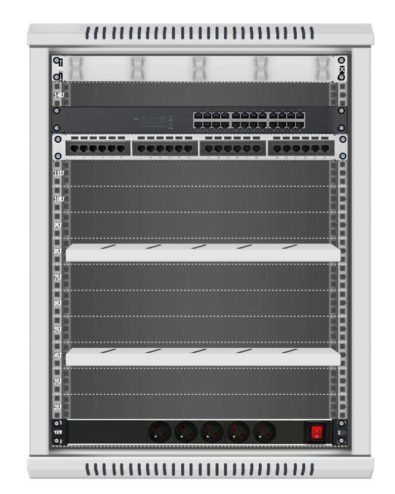 24 portowy MEGA zestaw sieciowy 15U szafa RACK 19 ZMS15-66-24S