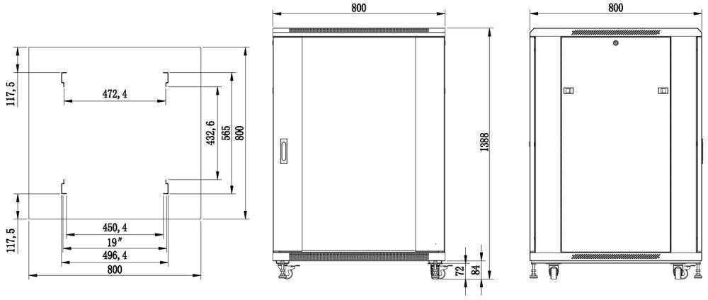 S8827 szafa rack systems rzeczywiste wymiary