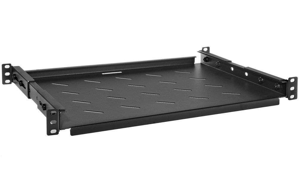 1U / 350mm - Uniwersalna półka PWR600 RACK SYSTEMS czarna RAL9005