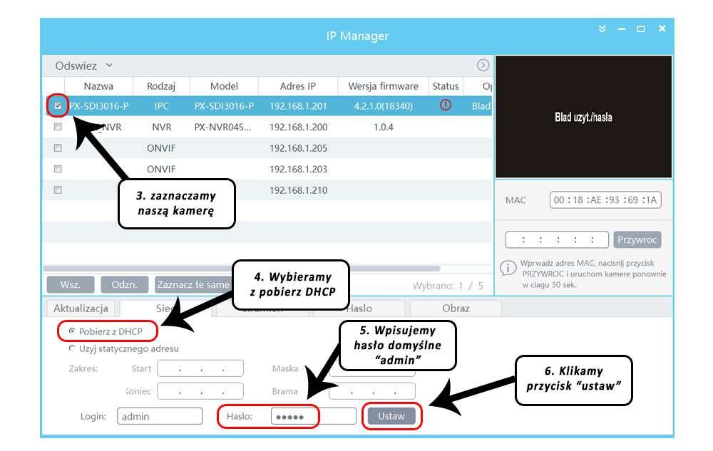 Pobierz i zainstaluj aplikację do wyszukiwania kamer IPOX Pro Manager (pobierz).