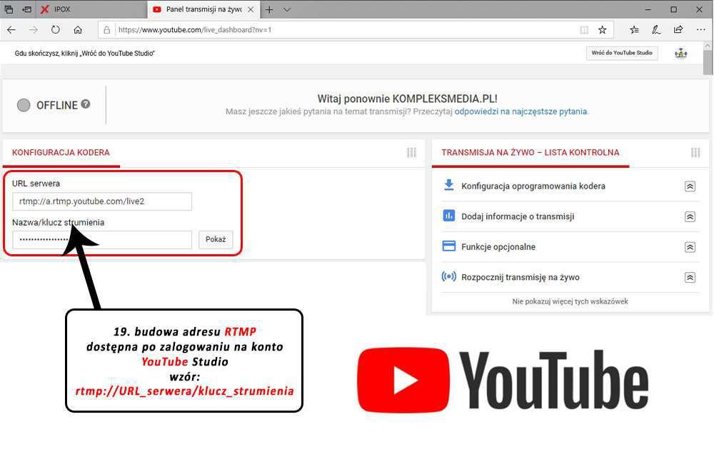 załóż konto YouTube Studio, przygotuj adres URL oraz klucz strumienia niezbędny do transmisji na żywo, każde konto ma swój własny unikalny kod strumienia.