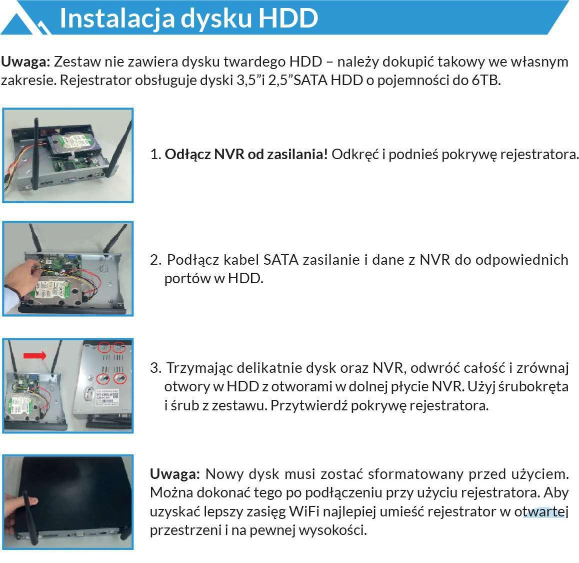 instrukcja montażu dysku twardego hdd w rejestratorach lanberg