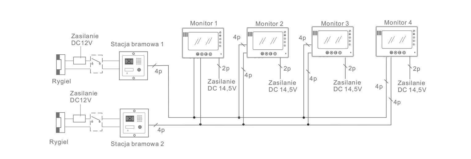 analogowe wideodomofony vidos schemat