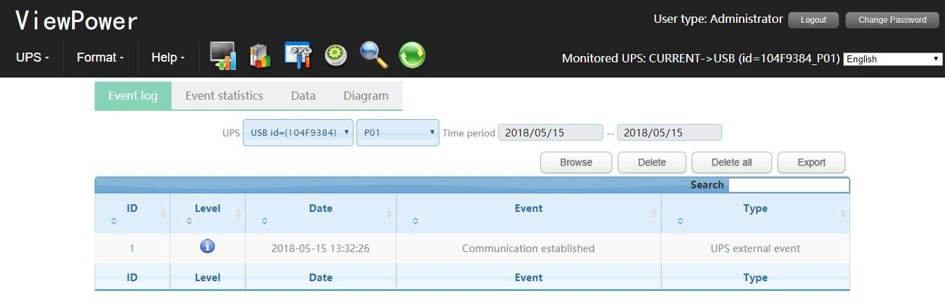 Viewpower Manager event log